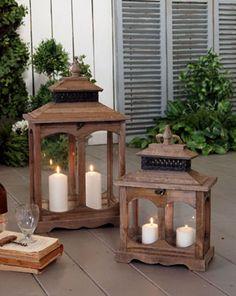 Set 2 lanterne antique wood - cm.35x23xh.60 (56.1865)
