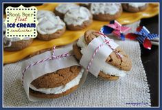 Root Beer Float Ice Cream Sandwiches - Shugary Sweets
