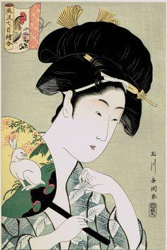 "Japanese Ukiyoe Woodblock print antique Tamagawa Shucho ""An Elegant Series of Amulet Painting Rabbit and Cock"" Japanese Drawings, Japanese Prints, Linocut Prints, Art Prints, Block Prints, Japanese Art Samurai, Japan Painting, Art Japonais, Japanese Calligraphy"