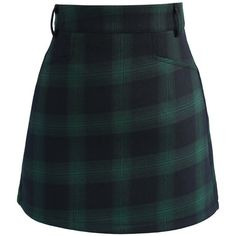 Chicwish Classy Tartan Bud Skirt in Green (110 BRL) ❤ liked on Polyvore featuring skirts, mini skirts, bottoms, green, green mini skirt, short green skirt, cocktail skirt, short plaid skirt and holiday skirts
