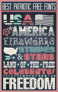 4th of July Free Fonts with links to their downloads. Let's celebrate! #4thofJuly #fonts