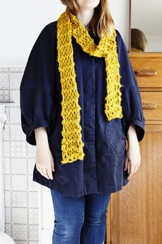 Petite loose knit scarf in a premium mustard coloured yarn. Knitting Accessories, Yarn Colors, Leather Jewelry, Carafe, Hand Knitting, Knitwear, Crochet, Mustard, Vintage