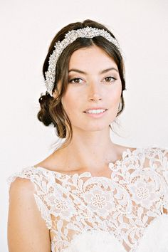 JOLIE Headband-  floral, bridal, rhinestone, crystal, veil, wedding, tiara, headpiece, $458.00