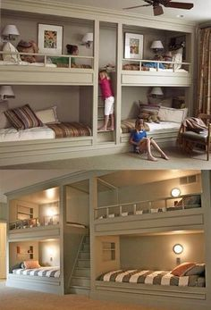 I would do this for my girls/boys if I had three or four. If u only have three u could make one a desk.