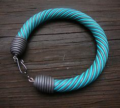 Turquoise+and+silver+polymer+clay+bangle+by+adrianaallenllc,+$15.00