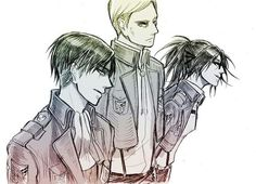 Levi, Erwin, Hanji; Attack on Titan