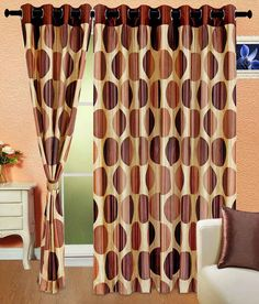 Cortina Set Of 2 Brown Circular Pattern Curtains - 7 Ft., http://www.snapdeal.com/product/cortina-set-of-2-brown/49671935