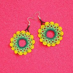 Etsy :: Your place to buy and sell all things handmade Seed Bead Jewelry, Seed Bead Earrings, Round Earrings, Beaded Earrings, Etsy Earrings, Huichol Art, Yarn Painting, Handmade Beaded Jewelry, Beaded Jewellery