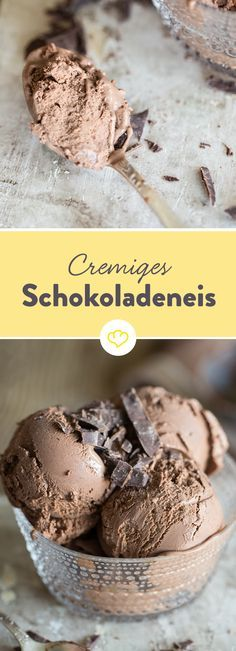 Ein Schokoladeneis, so cremig wie Mousse au Chocolat Are you looking for a really good chocolate ice cream? For an ice cream that tastes like in Italy? Then try this recipe – it doesn't get creamier. Frozen Desserts, Easy Desserts, Dessert Recipes, Chocolate Ice Cream, Best Chocolate, Frozen Yoghurt, Ice Ice Baby, Vegan Ice Cream, Nice Cream