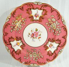 OLD COALPORT PERIOD Cabinet PLATE 6930/M PINK GOLD Floral embossed 1800 - 1830 #OldCoalportPeriod18001830