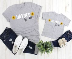 Celebrate your family's last name with these unique sunflower t-shirt mommy-daughter sets! Sunflower Clothing, Sunflower Shirt, Mommy And Me Shirt, Mommy And Me Outfits, Custom Baby Gifts, Thing 1, Baby Size, Vintage Shirts, Cute Shirts
