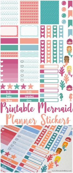 Free Printable Mermaid Planner Stickers from Munchkins and the Miltary