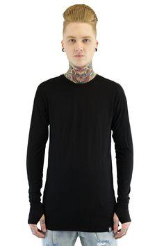 Long Sleeve Side Slit Tee | Black