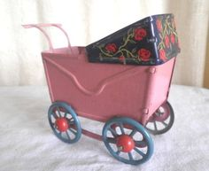 Old Tin Baby Doll Carriage Vintage Toy Inside Litho