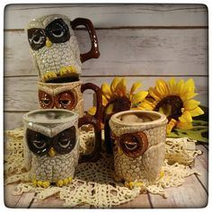 This week is going to be a big one for owl mug updates! Let's start it off with both a restock (the brown owl mug in this photo) and a new one (the gray owl). He's a sleepy little guy until he's had his morning coffee! You can find him here (http://ift.tt/2oZg8p9) Thanks y'all!