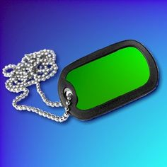 Green Aluminium Dog-Tag With Chain and Silencer