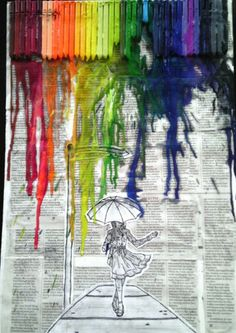 My drawing on newspaper and card board. Newspaper Background, Newspaper Art, Melted Crayons, My Drawings, Cool Art, Art Projects, Cool Stuff, City, Heart