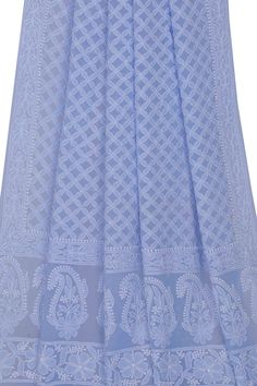 #Ada #handembroidered Blue #PureGeorgette #Chikan Dupatta- A533074 offers a comfortable and relaxed silhouette to the wearer #AdaChikan #chikankari #handcrafted #chikan #dupatta #shoponline #lucknowi #lakhnavi #worldwidedelivery
