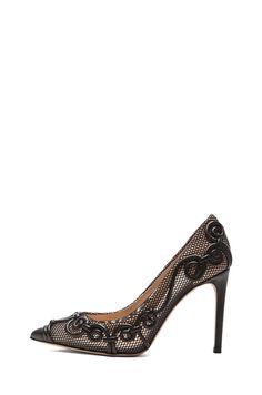 Valentino|Intrigate Mesh Heels in Black