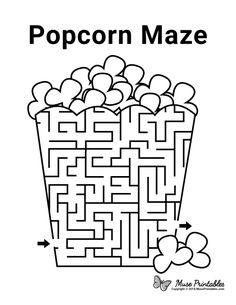 Mazes For Kids Printable, Worksheets For Kids, Free Printables, Popcorn Crafts, Popcorn Recipes, Cub Scout Popcorn, Maze Book, Maze Worksheet, Activity Sheets For Kids