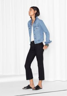 You could do the look the model is wearing. Make it look more luxurious with the gold Toyshop necklace. T-shirts, knits and dresses always look better than shirts under denim jackets, but you could still wear shirts. Balance the casual washed out denim with smarter fabrics though; smart Zara trousers, silk shirt, smart shiny new shoes. Beat up boots are cool but won't look as sharp. Neck scarf with this for more cool points.