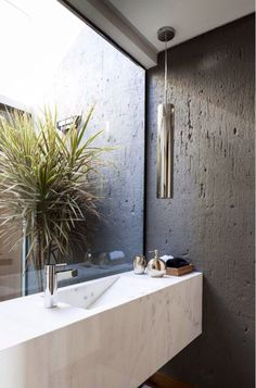 Gorgeous bathroom marble sink on dark grey with garden space peeking in