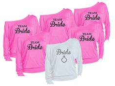 Items similar to 12 Personalized Bride & Bridesmaids Gift Off The Shoulder Shirts. Choose Shirt Color, Art Color, from over 30 Designs! FREE Personalization! on Etsy