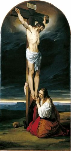 Francesco Hayez - Crucifixion with Mary Magdalene Kneeling and Weeping, 1827 - Museo Diocesano Milano Religious Pictures, Jesus Pictures, Catholic Art, Religious Art, Religious Icons, Images Du Christ, Maria Magdalena, Image Jesus, Marie Madeleine