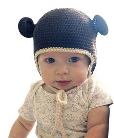 Melondipity Brown Organic Crochet Baby Bear Hat 0 - 3 Months. 100% Organic Yarn.