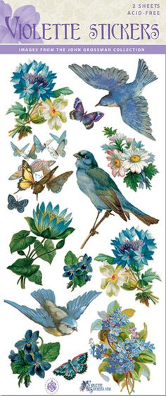 Beautiful+Blue+Bird+Flower+Stickers+for+Crafting2+by+tcastle1,+$3.00