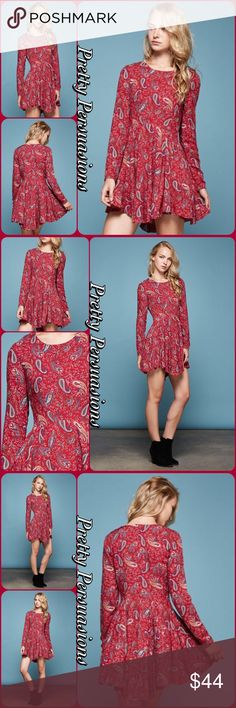 "NWT Paisley ""Gypsy Dreams"" Fit & Flare Tunic Dress NWT Paisley Print ""Gypsy Dreams"" Fit & Flare Tunic Dress  Available in S, M, L Measurements taken from a small  Length: 34"" Bust: 32"" Waist: 36""  Rayon  Features  • all over paisley print  • long sleeves  • fit & flare design • soft material  Bundle discounts available  No pp or trades  Item # 1/1011300440PPD paisley boho vintage hippie long sleeve mini dress tunic Pretty Persuasions Dresses Long Sleeve"