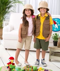 Safari Vest Crochet Pattern | Red Heart| goes with the Safari Play set| children sizes 2-8