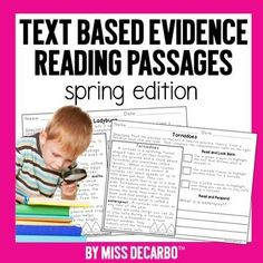 These spring comprehension reading passages will get your students to USE the text and prove their answers! Included in this reading intervention pack for comprehension and fluency are 44 text-based evidence passages. 22 high-interest topics are covered. Each topic includes a nonfiction informationa... Reading Groups, Student Reading, Guided Reading, Student Work, Text Based Evidence, Third Grade Reading, Second Grade, Grade 2, Reading Comprehension Passages