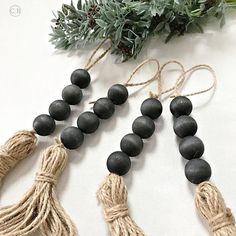 Modern farmhouse bead garland set, Bohemian drawer knob decor with jute tassel, Black barn door accent decoration, Housewarming Hygge gift