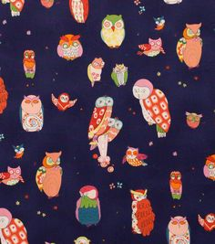 Alexander Henry Cotton Fabric-Spotted Owl  Navy