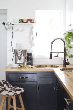 Everything I Learned From My Crazy (But Worth It) Kitchen Renovation #refinery29  http://www.refinery29.com/a-beautiful-mess/4#slide-4  Now that my life has returned to a more normal pace, I start every morning right here at my kitchen bar.