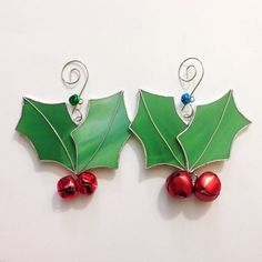 Holly Leaf and Jingle Bell Stained Glass Ornament by NARFdesign