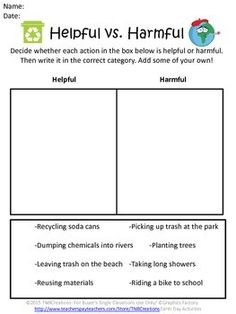 Earth Day Activities: Get your students thinking about Earth Day with these fun worksheets and activities!  In this product you will receive the following printable Earth Day worksheets:   Earth Day Acrostic Poem Worksheet 3 Earth Day Writing Prompt Worksheets Helpful vs. Harmful Worksheet Helping the Environment Worksheet Earth Day Unscramble Worksheet Reduce, Reuse, and Recycle Brainstorming Worksheet 3 Earth Day Coloring Pages