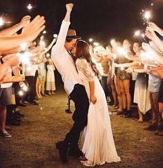 Rustic Outdoor Wedding Reception (Sparklers)