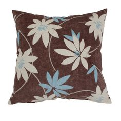 Have to have it. Decorative Brown and Blue Flocked Floral Pillow $20.99