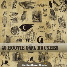 Photoshop Gimp Brushes - 40 Free Hootie Owls - StarSunflower Studio