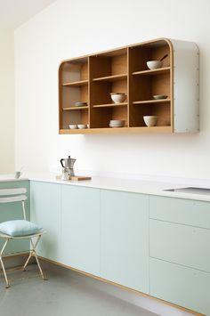 pastel cabinets in a Scandinavian kitchen