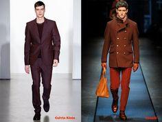 Tendencias hombre otoño/invierno 13/14 color burdeos: Calvin Klein y Canalli.
