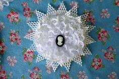 Lace Flower Pin Clip Handsewn Cameo Center by SweetRepeatVintage, $7.95