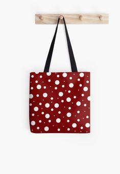 'Red Mushroom, asymetric polka dot pattern, white circles' Tote Bag by cool-shirts Samsung Galaxy Cases, Iphone Cases, Reusable Tote Bags, Drawstring Bags, Long Hoodie, Ipad Case, Cool Shirts, Decorative Throw Pillows, Polka Dots