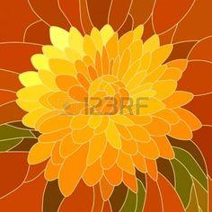 mosaico con c�lulas grandes de crisantemo amarillo brillante en rojo. photo