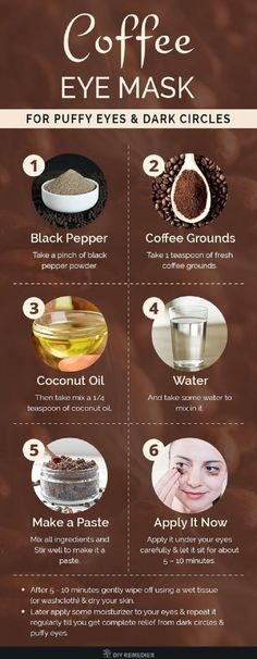 DIY Coffee Eye Mask for Puffy Eyes and Dark Circles Coffee grounds has antiox. DIY Coffee Eye Mask for Puffy Eyes and Dark Circles Coffee grounds has antioxidant and anti-infl Homemade Skin Care, Diy Skin Care, Homemade Beauty, Organic Beauty, Organic Skin Care, Natural Skin Care, Natural Beauty, Natural Face, Eco Beauty
