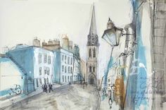 St Michael's Street by Kelly Stewart Michael Street, St Michael, Valentines Gifts For Him, Cityscapes, Artist Painting, Buildings, Mixed Media, Art Gallery, Oxford