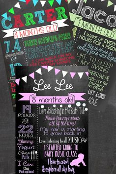 Month By Month Chalkboard custom just for your little one, perfect for monthly photos - FREE 8x10 & Color choices!