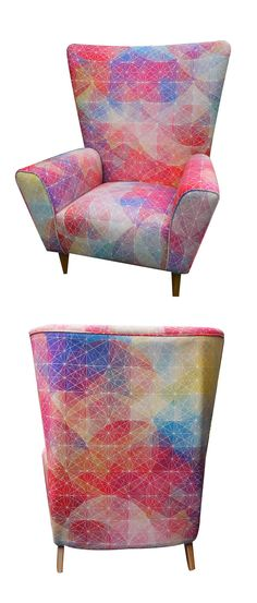Love this modern fabric on a midcentury chair